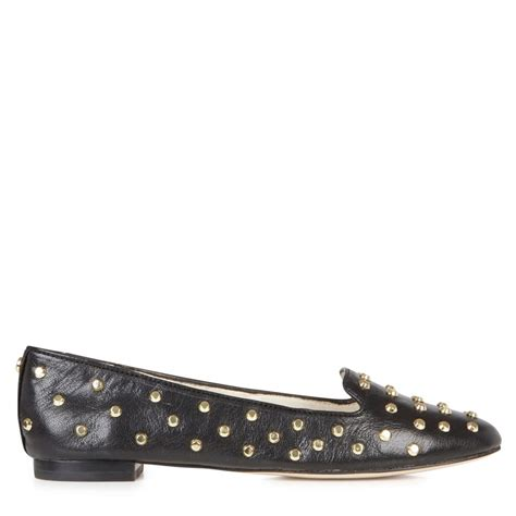 studded black loafers michael kors ailee studded leather loafers in black lyst