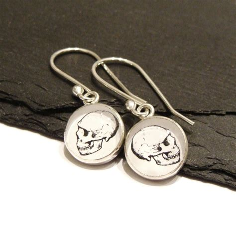 Handmade Sterling Silver Charms - handmade sterling silver skull charm dangle earrings with