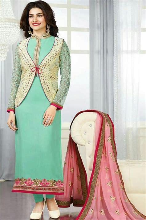 embroidery punjabi suits pinterest sea green pink georgette semi stitch punjabi suit with