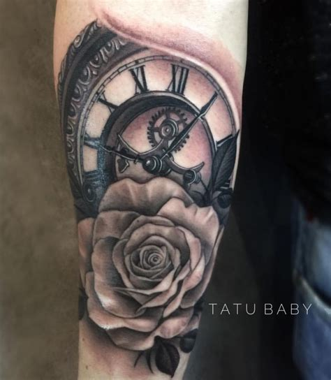 clock and rose tattoos best 25 clock and ideas on