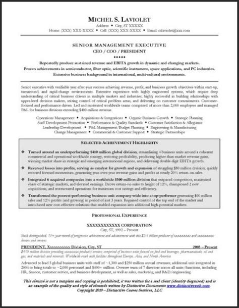 ceo resume exle page 1 resume exles