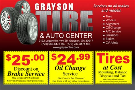 Design Business Cards Print At Home Grayson Tire Amp Auto Center