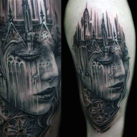 gothic city tattoo 80 castle tattoos for masculine fortress designs