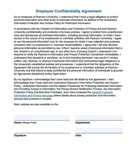 employee non disclosure agreement template employee confidentiality agreement non disclosure