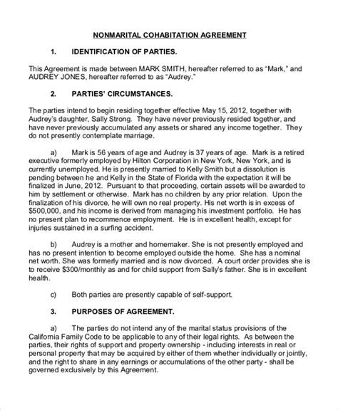 cohabitation contract template sle cohabitation agreement form 7 free documents in pdf