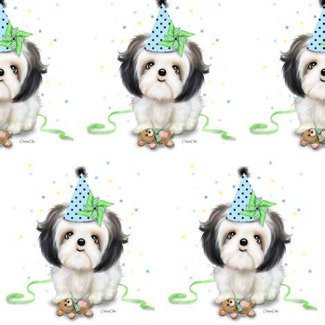 shih tzu fabric shih tzu birthday boy m fabric catialee spoonflower