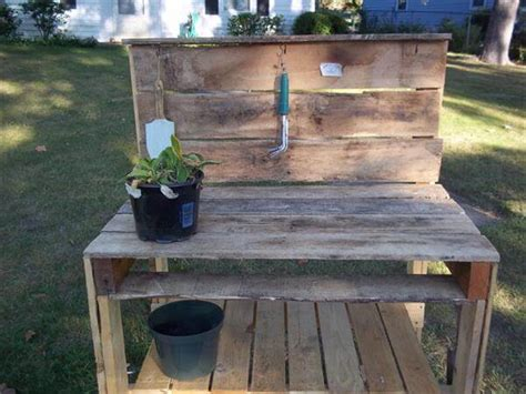 diy potting bench from pallets diy recycled pallet potting bench 101 pallets