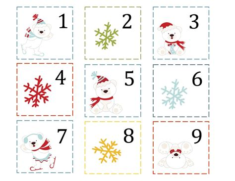 printable calendar numbers preschool printables polar bear christmas printable