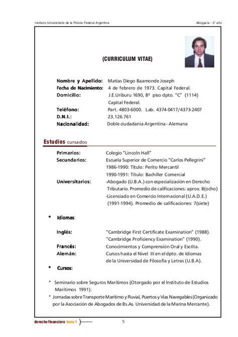 Plantilla De Curriculum Para Recien Egresados Dcho Financiero Tomo 1 Sin Tp