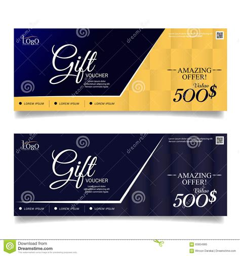 Business Card Voucher Template by Gift Voucher Colorful Certificate Coupon Design Vector