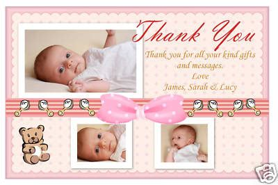Thank You Cards For New Baby Gifts - personalised thank you cards baby birth thank you photo cards