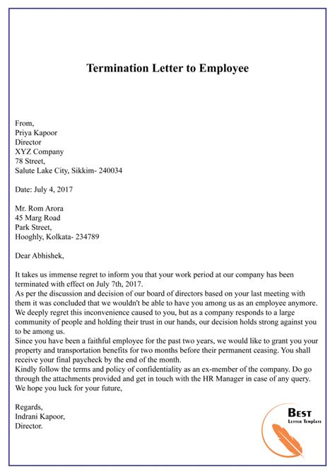 termination dismissal letter template format sample
