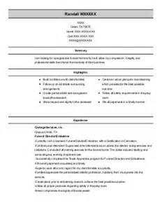 Funeral Home Director Sle Resume by Funeral Directors Resume Exles Funeral Services Resumes Livecareer