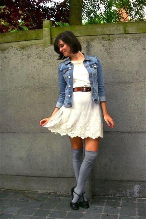 white dresses blue jackets gray socks black shoes