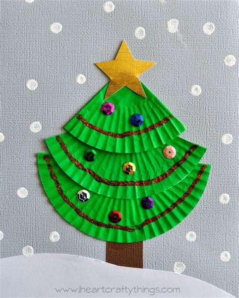 cupcake liner christmas tree art green cups tree crafts