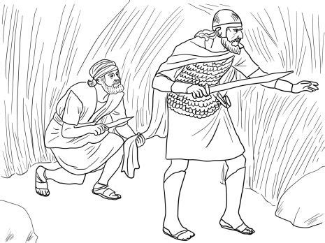 coloring page of king saul david and saul coloring pages david cuts saul s robe