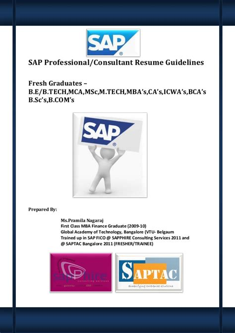 Resume Format Pdf For Bca by Sap Professional And Consultant Resume Guidelines For