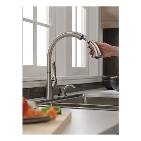 delta ashton kitchen faucet 19922 sssd dst single handle pull kitchen faucet