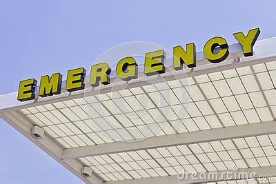 Lu Emergency Merk Timezone yellow emergency entrance sign for a local hospital v