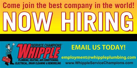 Whipple Plumbing Utah by We Re Hiring Whipple Service Chions