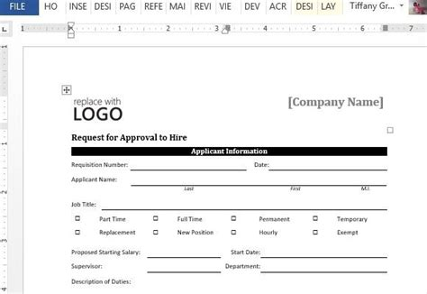approval to hire sle form for word