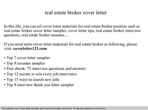 Broker Trainee Cover Letter by Real Estate Broker Cover Letter