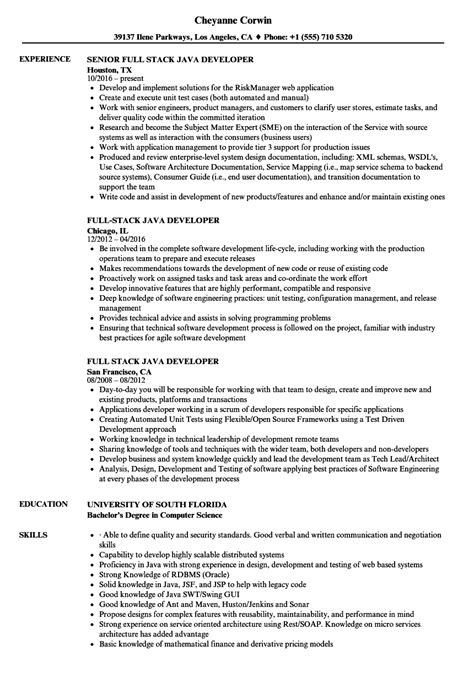 Stack Developer Resume by Stack Java Developer Resume Sles Velvet