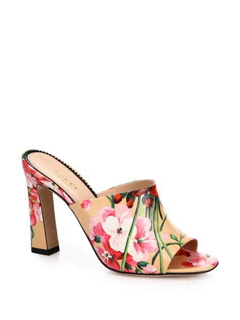 Gucci Floral Heels lyst gucci marine floral print leather mules