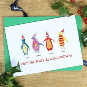 personalised rainbow penguin family cards by this is nessie notonthehighstreet