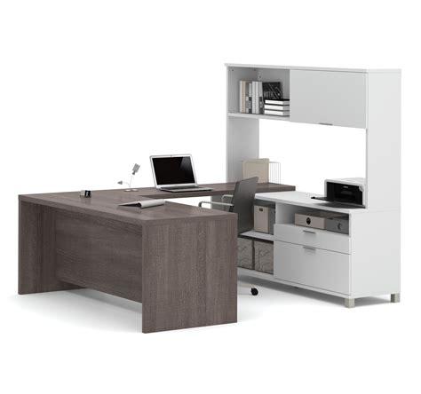 grey desk with hutch pro linea white bark grey u desk with hutch
