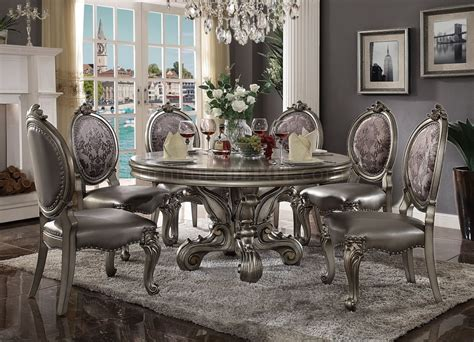von furniture versailles large formal dining room set in 66840 acme dining round table versailles collection in