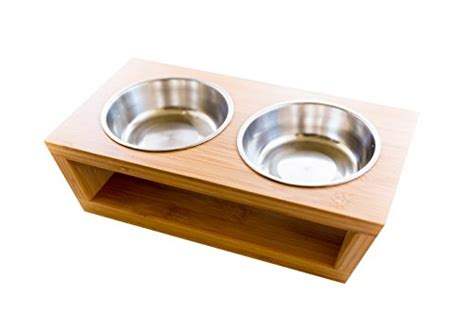 Pet Feeding Vessel Bowl premium elevated and cat pet feeder bowl raised stand comes with two stainless