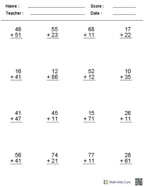 Make A Math Worksheet by Addition Worksheets No Regroup Math Aids