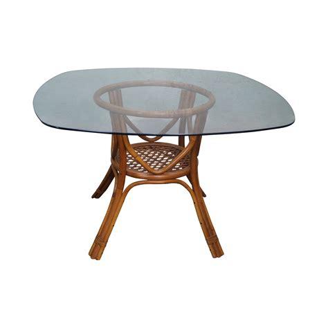 vintage glass top dining table vintage rattan glass top dining table chairish