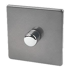 Senter Push On Dimmer 3 In 1 varilight led dimmer switch 1g 1 2 way 400w slate grey switches sockets screwfix