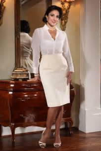 Ivory pencil skirt sheer white blouse sheer stockings and ivory high