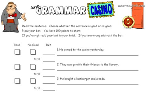 english game themes the grammar casino an esl exercise to test grammar in a