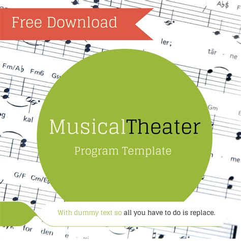 Free Musical Theater Program Template Theaterish Play Program Template Word