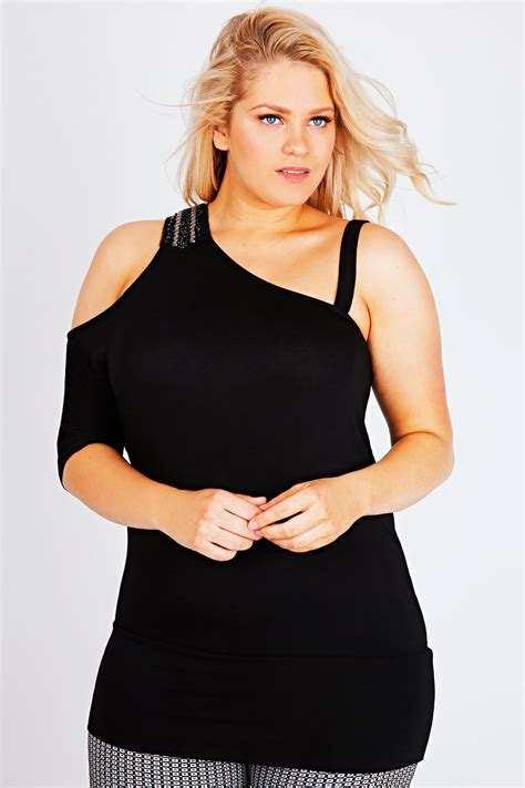 Asymmetric Shoulder Top black asymmetric jersey top with shoulder embellishment
