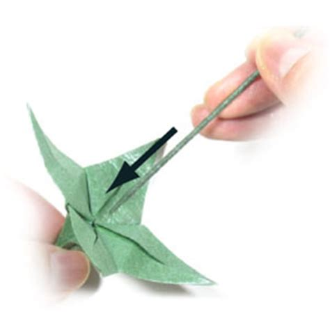 Origami Flower Stem - how to make an origami wire stem page 3
