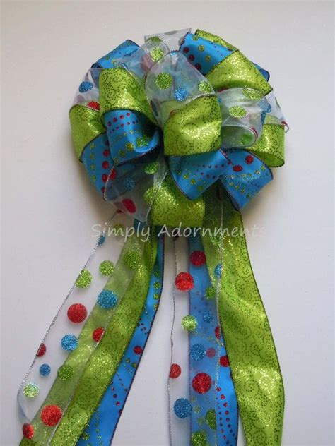blue christmas tree bows green blue bow blue green tree topper bow lime turquoise tree top