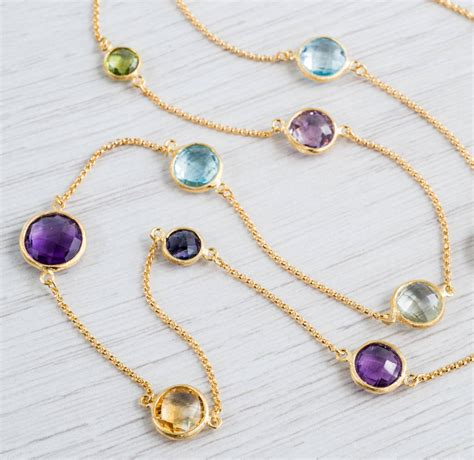 Gemstone Necklace gold and multi gemstone necklace by auree jewellery