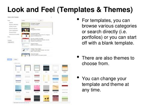 e portfolio templates free look and feel templates