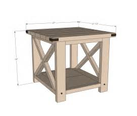 Diy rustic end tables ana white build a rustic x end table free and