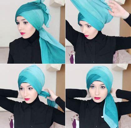 tutorial turban dari pashmina tutorial hijab turban simpel dengan hiasan mahkota bunga