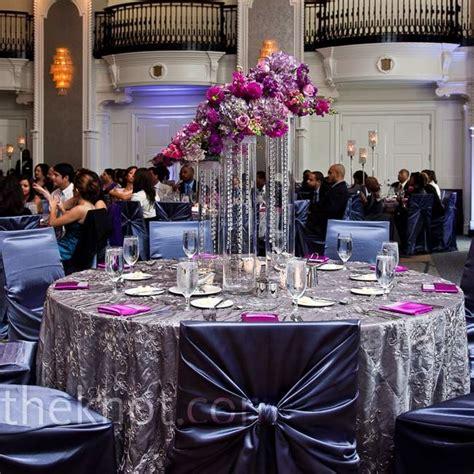 silver and purple decor