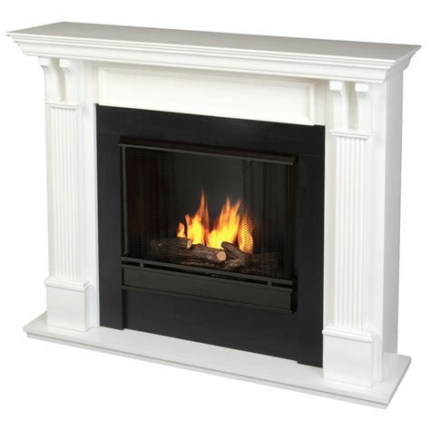 real indoor ventless gel fireplace in white