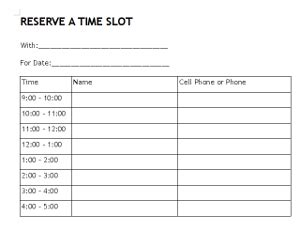 Download In Pdf For Printing Time Slot Sign Up Sheet Template