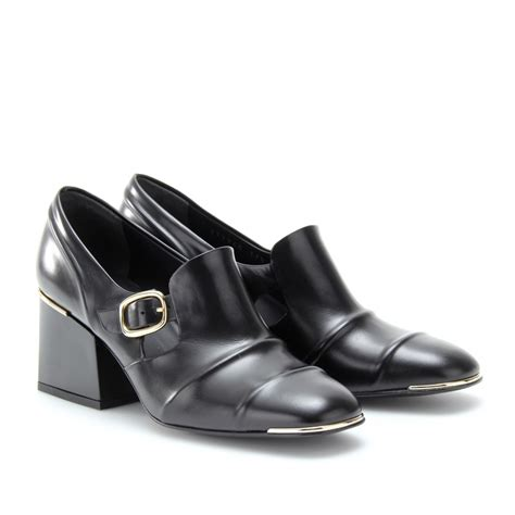 balenciaga loafers lyst balenciaga cube block heel leather loafers in black