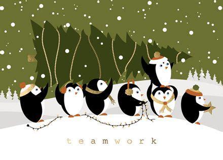 penguin teamwork humorous christmas cards presenting  cheerful group  pengu custom